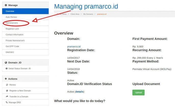 edit nameserver domain