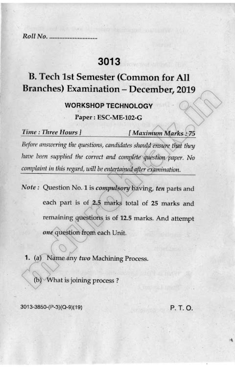 Download Workshop Technology - Question paper - B.Tech. 1st Year - Question Paper for free