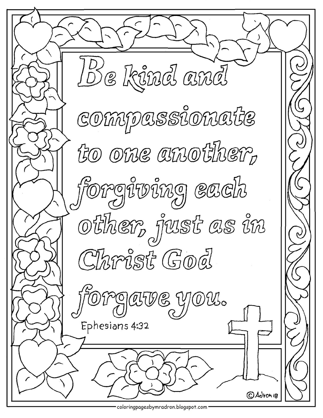 Coloring Pages For Kids By Mr Adron Ephesians 4 32 Print