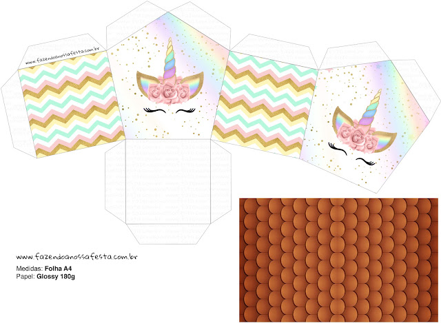 Unicorn and Rainbow: House shapped Free Printable Box.