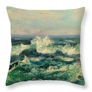 contemporary coastal throw pillow with waves and ocean