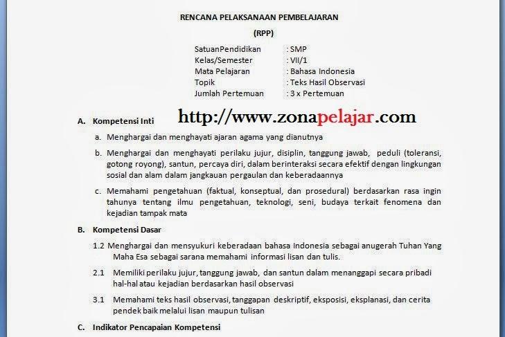 rpp bahasa indonesia 2013, rpp smp kurikulum 2013