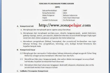 RPP Bahasa Indonesia SMP Kurikulum 2013 Terbaru