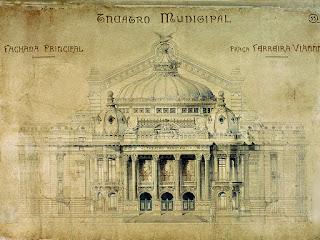 Projeto-Final PREFEITURA do Distrito Federal (RJ). [Projeto final para o Theatro Municipal – fachada]. 1904.