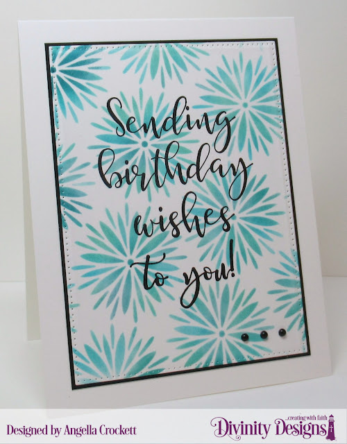 Divinity Designs LLC: Big Birthday Bolds, Flower Burst Mixed Media Stencil, Pierced Rectangles Dies; Card Designer Angie Crockett