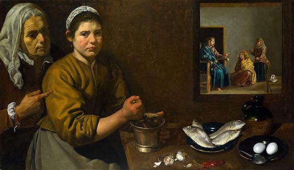 Диего Веласкес - Христос в доме Марфы и Марии (около 1618)