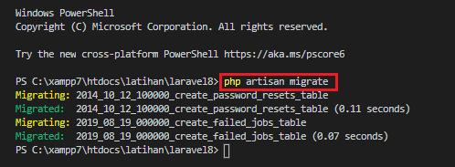 perintah php artisan migrate sahretech