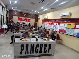 Kapolres Pangkep bersama PJU ikuti Vicon Kapolda Sulsel