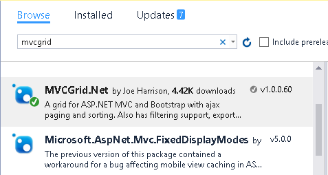 Getting started with MVC GRID in ASP.NET MVC 5 web application