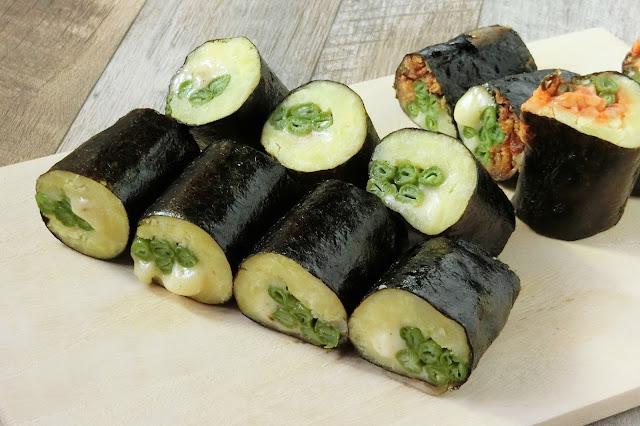 お弁当におすすめ!いんげん入り海苔巻きポテトチーズ