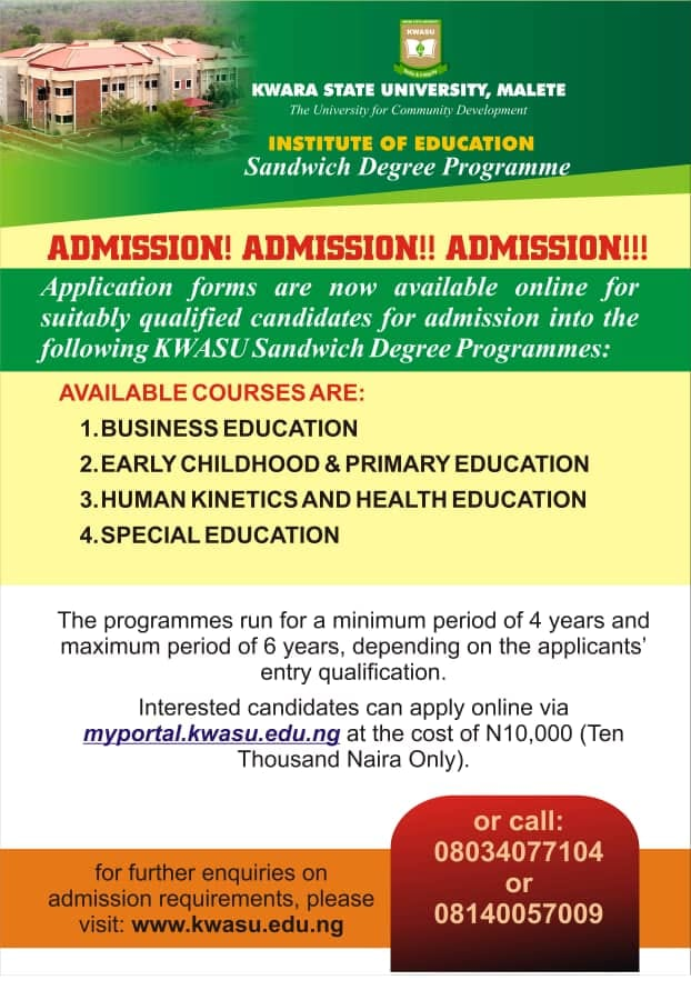 KWASU Sandwich Degree Admission Form 2021 Contact Session