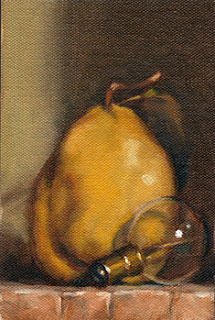 Oil painting of a quince beside a small incandescent light bulb.