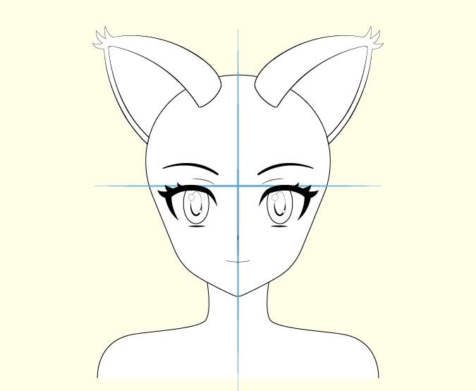 Fitur wajah gadis kucing anime menggambar