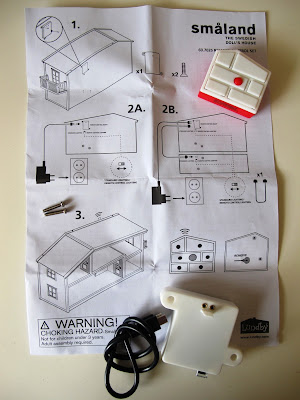 Lundby Smaland 2015 remote-controlled lighting unit components, with instructions.