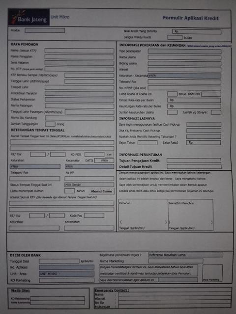 Formulir aplikasi kredit usaha mikro