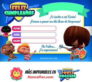 Mini Beat Power Rockers: Tarjeta de Cumpleaños de Fiesta Infantil