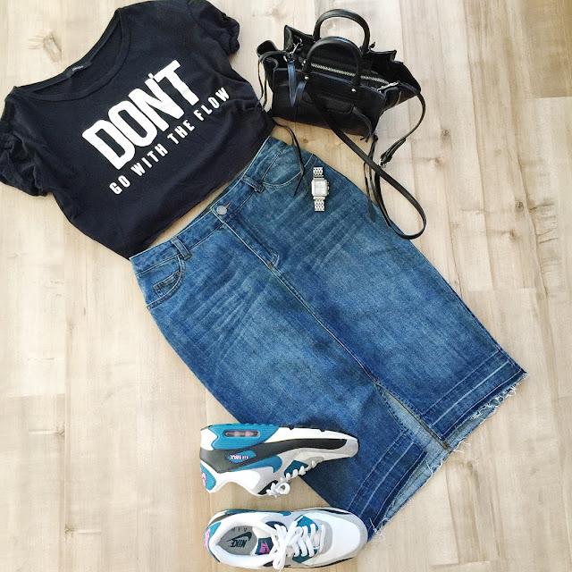 high waisted long denim skirt crop top nike air max sneakers black crossbody