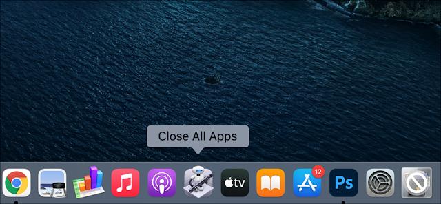 """تم تمييز تطبيق """"Close All Apps"""" على Dock الخاص بجهاز Mac."""