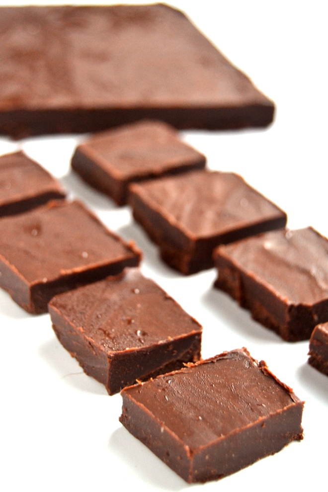 Chocolate Hazelnut Protein Fudge requires only 4 ingredients and is rich, creamy, no-bake and is stored in your freezer for a healthier treat! www.nutritionistreviews.com