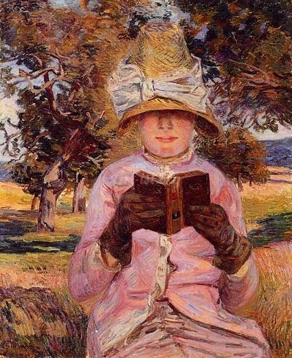 A Leitora com o Chapéu Enterrado na Cabeça - Armand Guillaumin ~ Pintor Impressionista com cores intensas