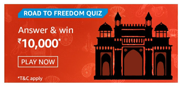 Road to Freedom Quiz answer and win rs 10000