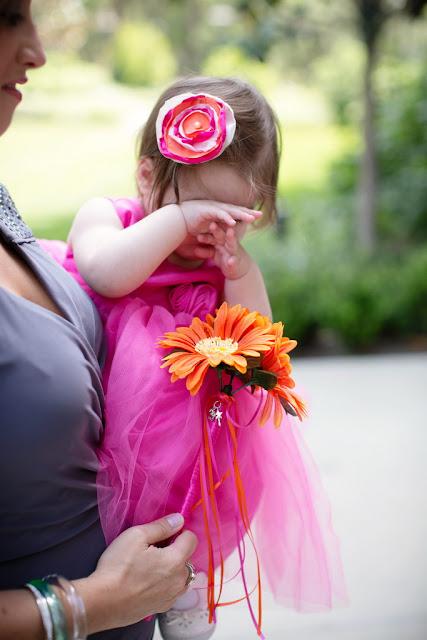 Disneyland Hotel Wedding - tired flower girl