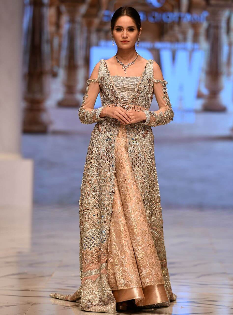 Heavily Embellished Peach Gown with shimmery brocade sharara – Zainab Chottani Barat Bridal Dresses