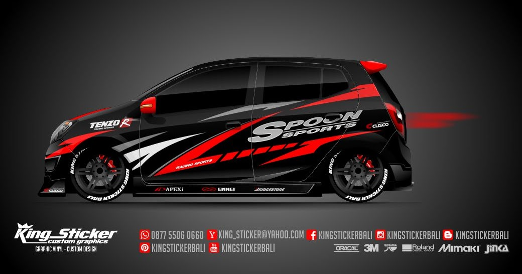 Sticker mobil agya ayla spoon racing king sticker bali