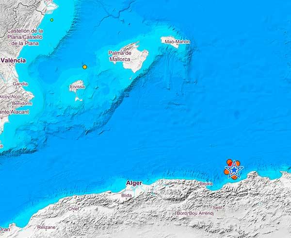 cadena de terremotos en el Mediterráneo - Argelia, 13 julio 2019