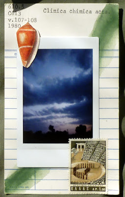 Fluxus mail art postage stamp polaroid library card collage