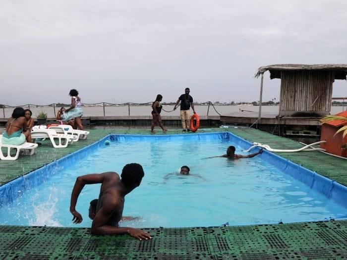 Floating island resort, Ivory Coast | The floating island built from 700,000 plastic bottles