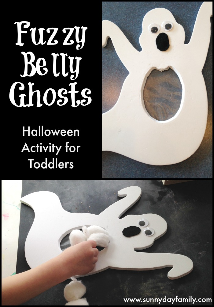 Fuzzy Belly Ghosts! A fun fine motor Halloween activity for toddlers. Perfect for busy bags!