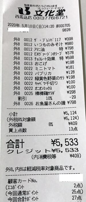 文化堂 西馬込店 2020/5/10 のレシート