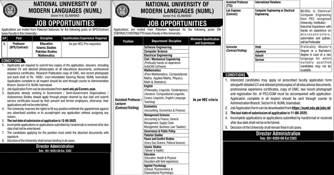 JOBS | NATIONAL UNIVERSITY OF MODERN LANGUAGES (NUML)
