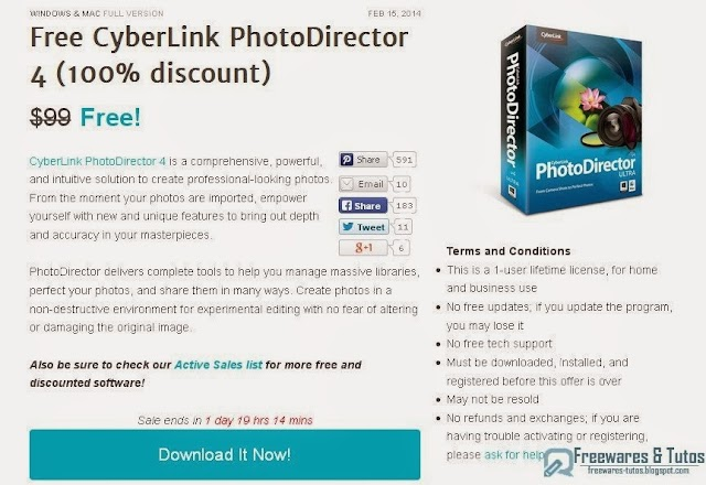 Offre promotionnelle :  CyberLink PhotoDirector 4 gratuit !