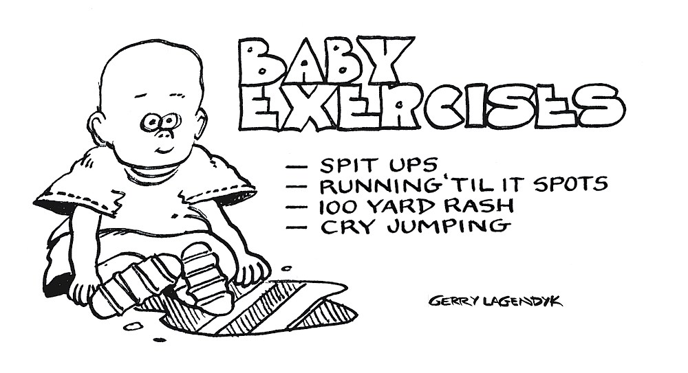 baby exercises cartoon, Gerry Lagendyk