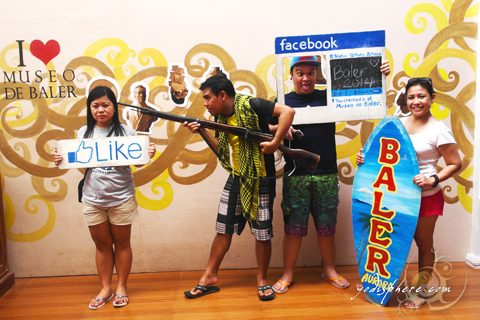 Photo ops inside Baler museum with cool Eastgate backpackers