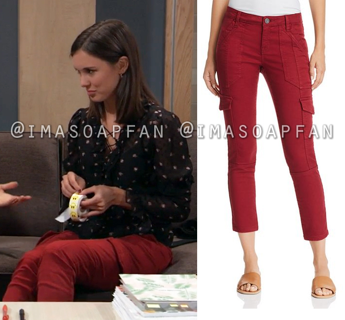 Willow Tait, Katelyn MacMullen, Red Skinny Cargo Pants, General Hospital, GH