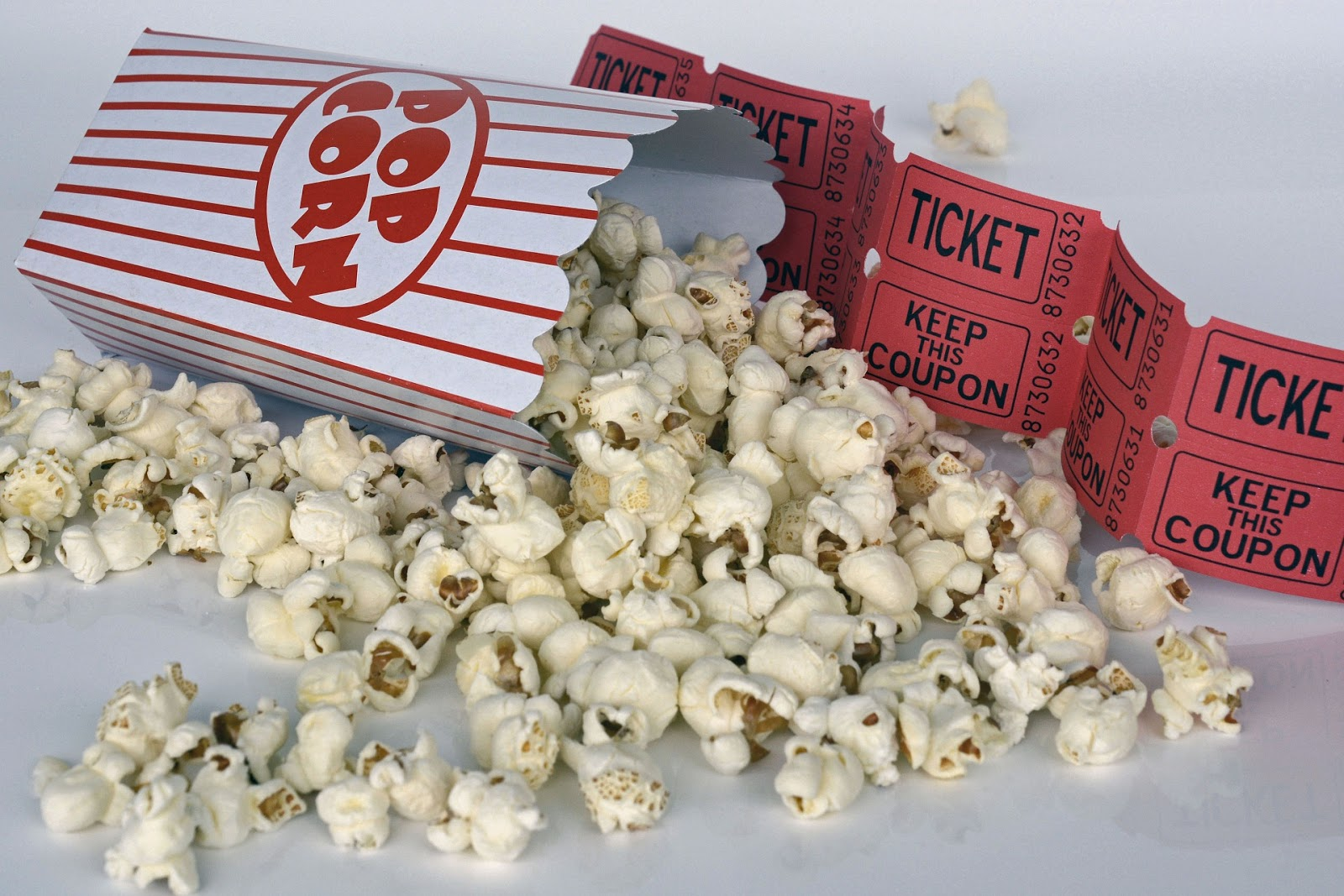 popcorn spilling out of popcorn container with red movie tickets for blog post about the movie Midway