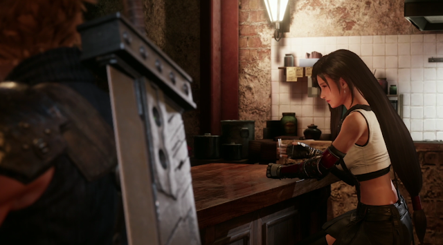 Tifa drinking at the bar Final Fantasy VII Remake Square Enix E3 2019