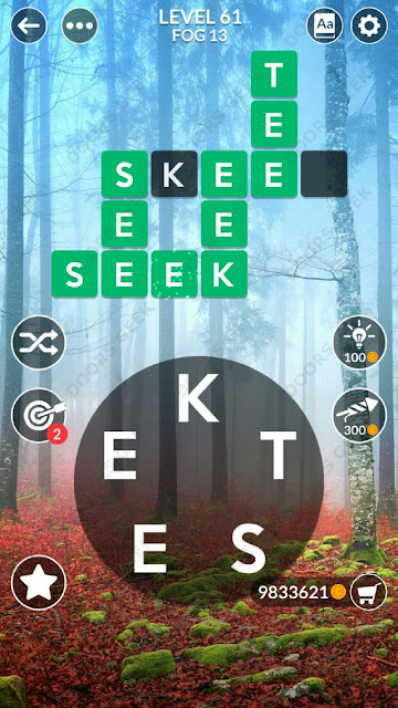 Wordscapes Level 61 answers, cheats, solution for android and ios devices.