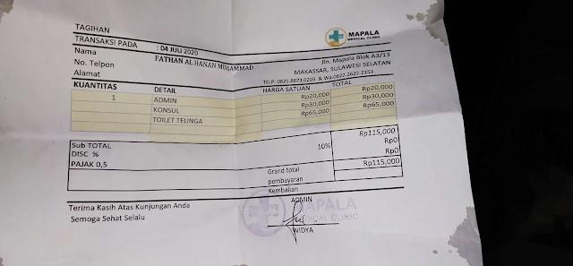 Biaya berobat telinga di dokter umum mapala medical clinik