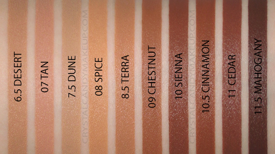 BareMinerals Complexion Rescue Hydrating Foundation Stick Swatches Sienna Cinnamon Cedar Mahogany Chestnut MAC NC50 NW55 NC45 NC42