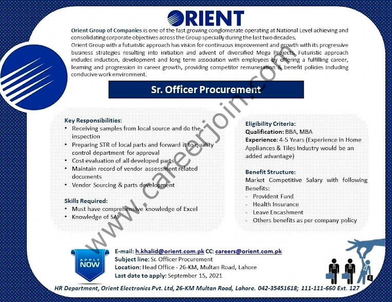 Orient Group Of Companies Latest  Jobs Senior Officer Procurement: