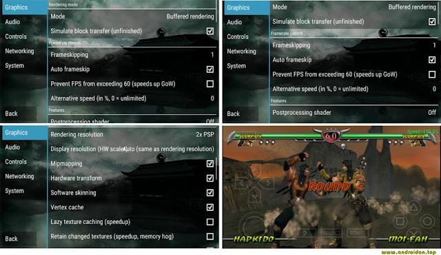 Gambar settingan PPSSPP Mortal Combat di Android
