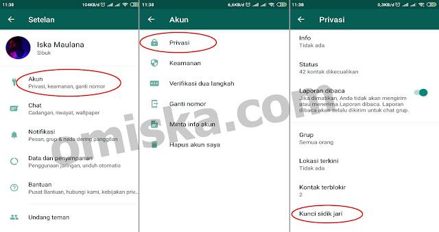 cara mengaktifkan fitur fingerprint lock di whatsapp