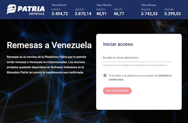 Manual del sistema de Remesas a Venezuela de la Plataforma Patria
