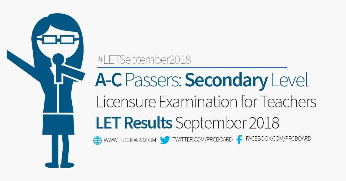 a7523c51fdd A-C LET Passers Secondary  September 2018 Teachers Board Exam Results -  PRCBoard.com