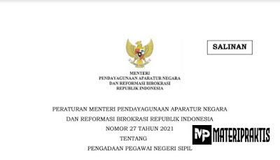 Permen PANRB No. 27 Tahun 2021 Tentang Pengadaan Pegawai Negeri Sipil