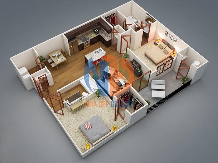 Bán chung cư 2 phòng ngủ giá rẻ hiện đại nổi bật!